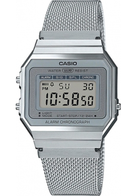 CASIO Collection Chronograph - A-700WEM-7AEF, Silver case with Stainless Steel Bracelet
