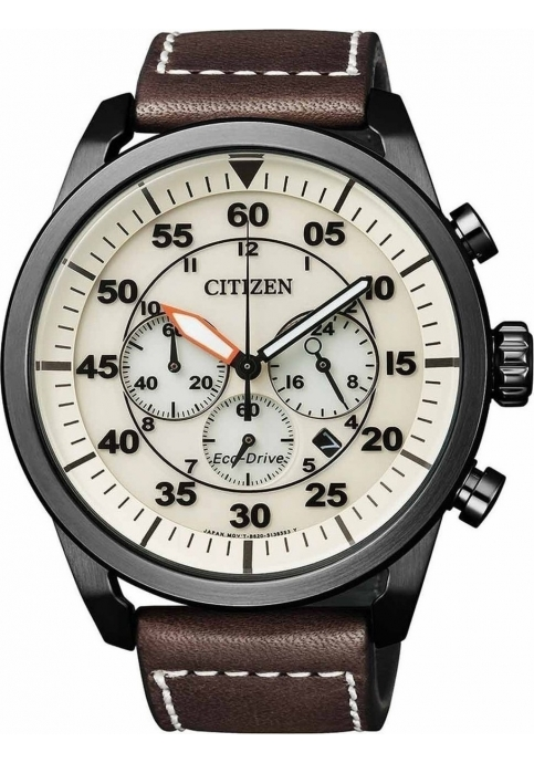Citizen Eco-Drive Chronograph Brown Leather Strap