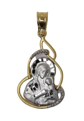 Κρεμαστό Φυλαχτό Παναγία από Χρυσό και Λευκόχρυσο Κ9 με πέτρα Ζιργκόν