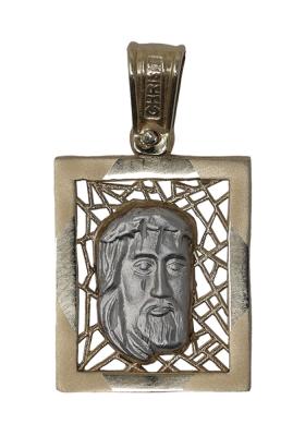 Κρεμαστό Φυλαχτό Χριστός από Χρυσό και Λευκόχρυσο Κ9