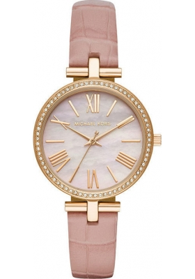 MICHAEL KORS Maci Crystals Three Hands 34mm Gold Stainless Steel Leather Strap MK2790
