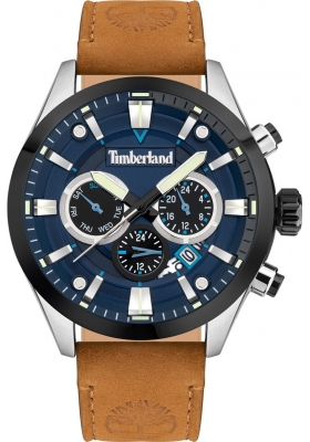 TIMBERLAND Tidemark TDWJF2001901 Silver case Brown Leather strap