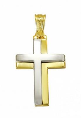 Σταυρός 14Κ Xρυσο και Λευκόχρυσο ΤΡΙΑΝΤΟΣ Ανδρικός