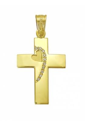 Σταυρός 14 Καράτια Xρυσο ΤΡΙΑΝΤΟΣ Γυναικείος