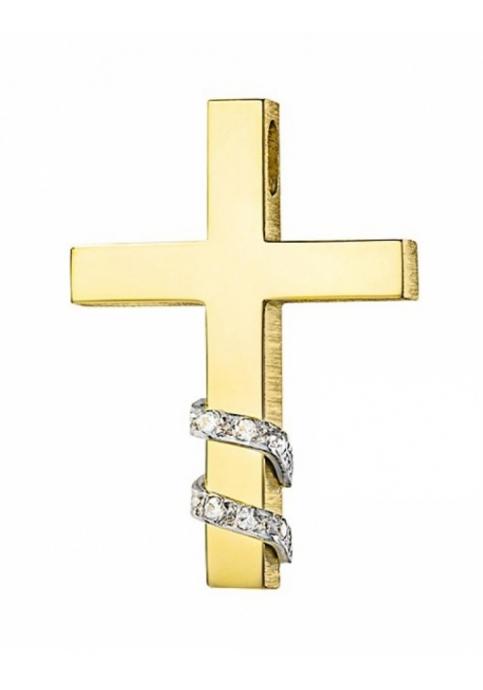 Σταυρός 14 Καράτια Χρυσός ΤΡΙΑΝΤΟΣ με Ζιργκόν