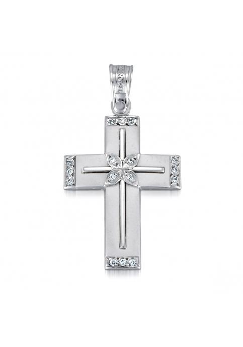 Σταυρός 14 Καράτια Λευκόχρυσο ΤΡΙΑΝΤΟΣ Γυναικείος με Ζιργκόν