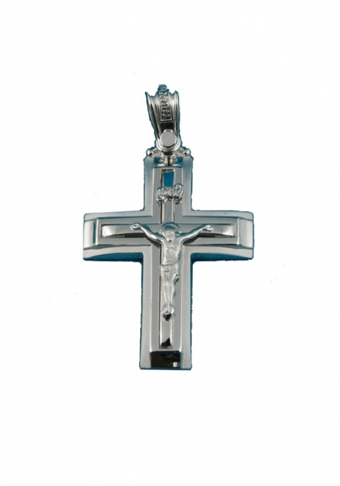 Σταυρός 14Κ Λευκόχρυσο ΤΡΙΑΝΤΟΣ Ανδρικός με Εσταυρωμένο