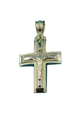 Σταυρός 14 Καράτια Xρυσο με λευκόχρυσο  ΤΡΙΑΝΤΟΣ με Εσταυρωμένο