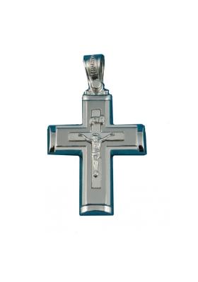Σταυρός 14Κ Λευκόχρυσο ΤΡΙΑΝΤΟΣ Γυναικείος με Εσταυρωμένο