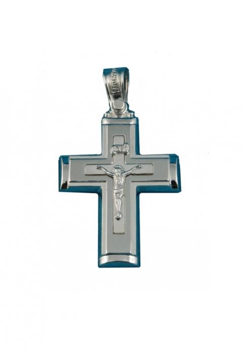 Σταυρός 14 Καράτια Λευκόχρυσο ΤΡΙΑΝΤΟΣ Γυναικείος με Εσταυρωμένο