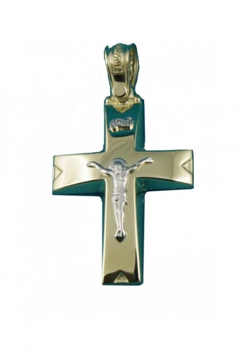 Σταυρός 14 Καράτια Xρυσο ΤΡΙΑΝΤΟΣ με Εσταυρωμένο