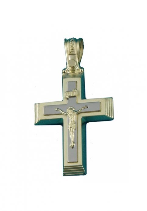 Σταυρός 14Κ Κίτρινο Χρυσό με Λευκόχρυσο ΤΡΙΑΝΤΟΣ με Εσταυρωμένο