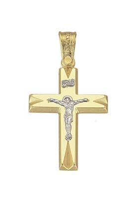 Σταυρός 14Κ Xρυσο ΤΡΙΑΝΤΟΣ με Εσταυρωμένο