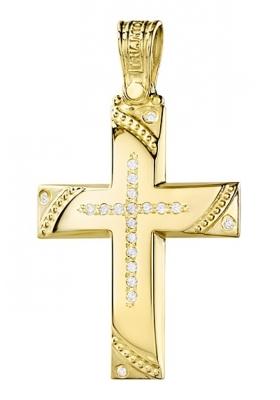 Σταυρός 14 Καράτια Χρυσός ΤΡΙΑΝΤΟΣ Γυναικείος με Ζιργκόν