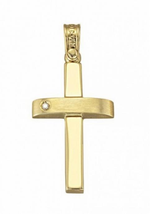 Σταυρός 14Κ Κίτρινο Χρυσό ΤΡΙΑΝΤΟΣ με ζιργκόν