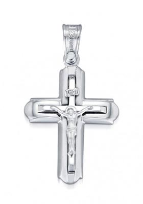 Σταυρός 14 Καράτια Xρυσο και Λευκόχρυσο ΤΡΙΑΝΤΟΣ Ανδρικός με Εσταυρωμένο