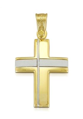 Σταυρός 14 Καράτια Xρυσο και Λευκόχρυσο ΤΡΙΑΝΤΟΣ Ανδρικός