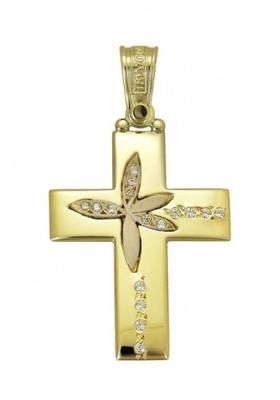 Σταυρός 14 Καράτια Χρυσο και Ρόζ Χρυσό ΤΡΙΑΝΤΟΣ Γυναικείος