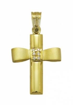 Σταυρός 14 Καράτια Xρυσο και Λευκόχρυσο ΤΡΙΑΝΤΟΣ με ζιργκόν