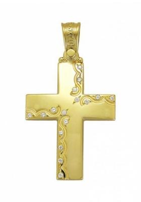 Σταυρός 14 Καράτια Xρυσο ΤΡΙΑΝΤΟΣ με ζιργκόν