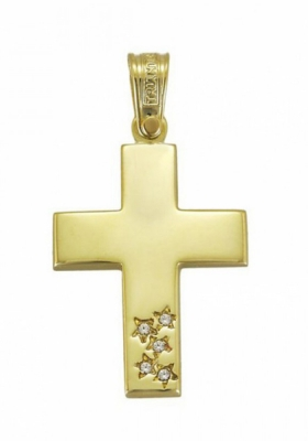 Σταυρός 14Κ Χρυσός ΤΡΙΑΝΤΟΣ Γυναικείος με Ζιργκόν