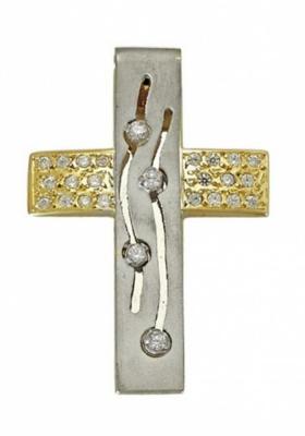 Σταυρός 14Κ Χρυσός και Λευκόχρυσος ΤΡΙΑΝΤΟΣ Γυναικείος με Ζιργκόν
