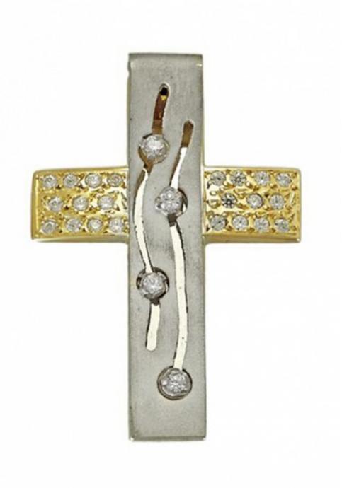 Σταυρός 14 Καράτια Χρυσός και Λευκόχρυσος ΤΡΙΑΝΤΟΣ Γυναικείος με Ζιργκόν