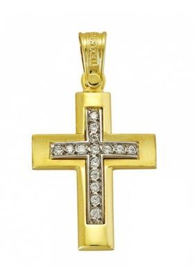 Σταυρός 14Κ Xρυσο και Λευκόχρυσο ΤΡΙΑΝΤΟΣ