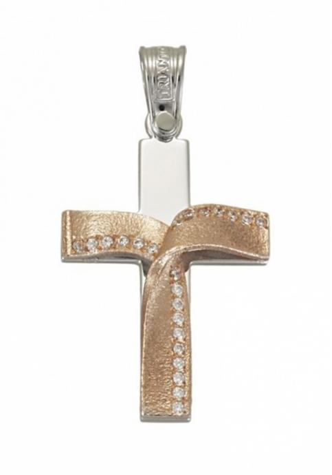 Σταυρός 14 Καράτια Ρόζ Xρυσο και Λευκόχρυσο ΤΡΙΑΝΤΟΣ με πέτρες ζιργκόν