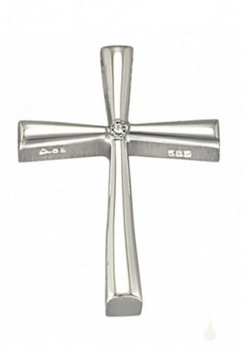 Σταυρός 14Κ Λευκόχρυσος ΤΡΙΑΝΤΟΣ με πέτρα ζιργκόν
