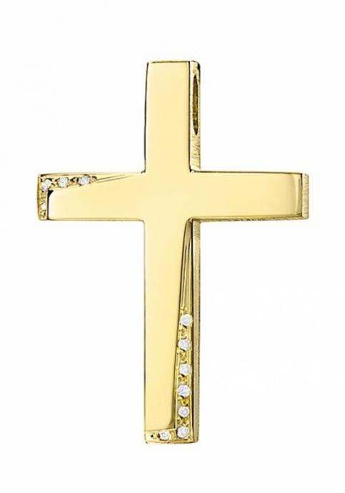 Σταυρός 14Κ Χρυσός ΤΡΙΑΝΤΟΣ με Ζιργκόν
