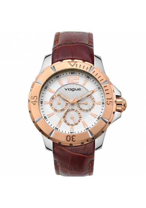 VOGUE City Multifunction Brown Leather Strap