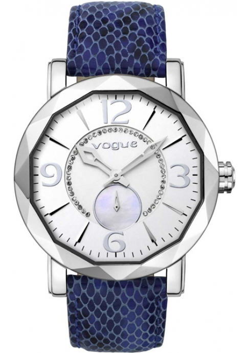 Vogue Kiss Kiss Crystal Ladies Blue Leather Strap