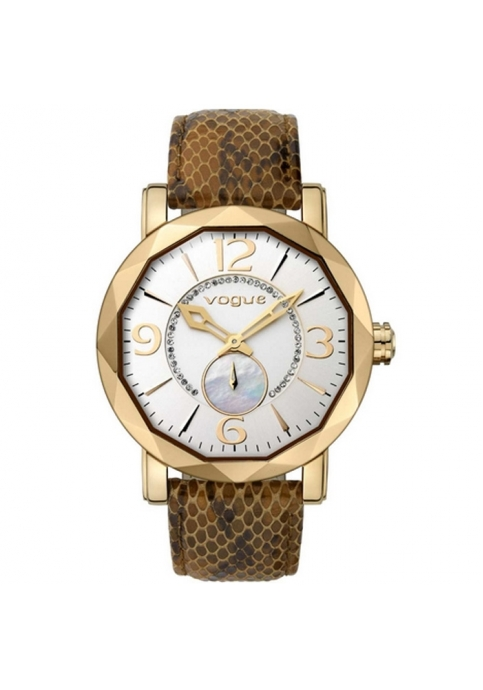 Vogue Kiss Kiss Crystals Rose Gold Brown Leather Strap