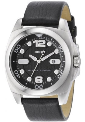 DKNY Black Leather Strap Black Dial