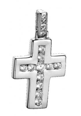 Σταυρός 18Κ Λευκόχρυσο με Mπριγιάν