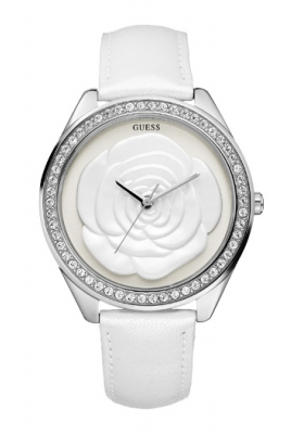 GUESS Crystal Rose Large White Leather Strap