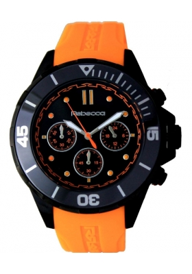 REBECCA Griffe Chrono Black Ceramic Orange Rubber Strap