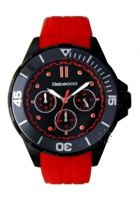 Rebecca Griffe Chrono Black Ceramic Red Rubber Strap