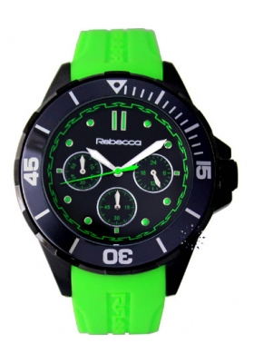 Rebecca Griffe Chrono Black Ceramic Green Rubber Strap