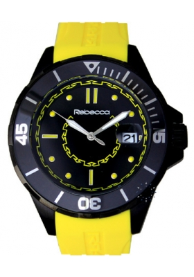 Rebecca Griffe Black Ceramic Yellow Rubber Strap