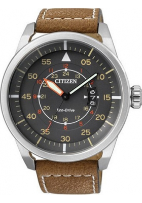 CITIZEN Brown Leather Strap Black Dial