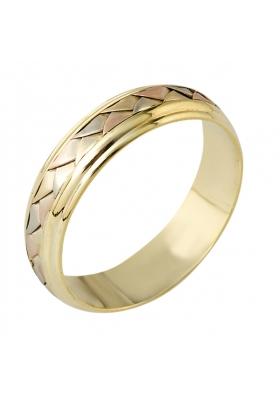 Χειροποίητη Βέρα από 14 Καράτια Ρόζ Xρυσό, Χρυσό και Λευκόχρυσο