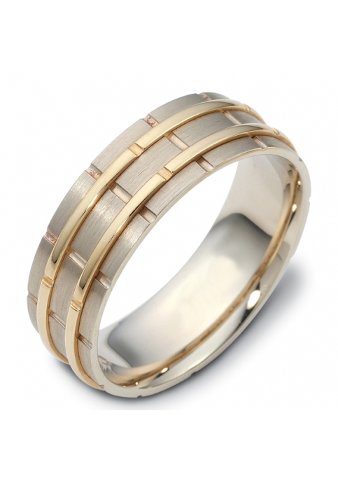 Handmade Wedding ring from 14K Gold and White Gold