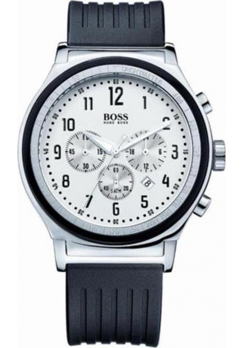 Hugo Boss Chrono White Dial Black Rubber Strap