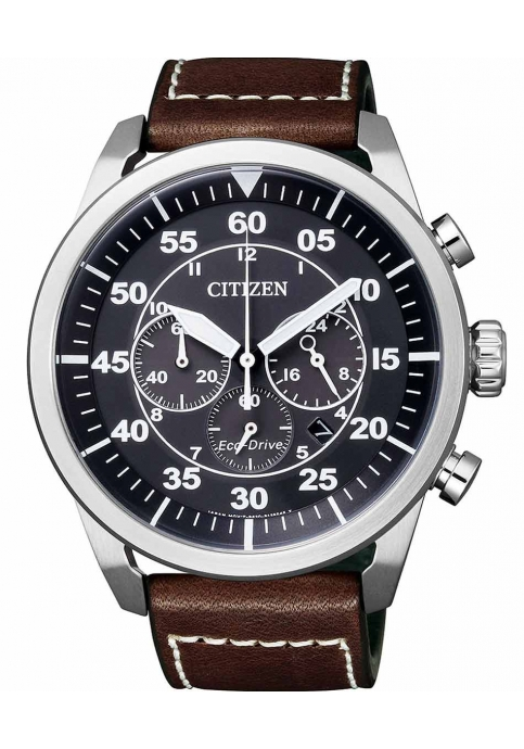 CITIZEN Eco-Drive Chrograph Brown Leather Strap