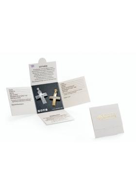 Σταυρός 14Κ Xρυσο με λευκόχρυσο  ΤΡΙΑΝΤΟΣ με Εσταυρωμένο