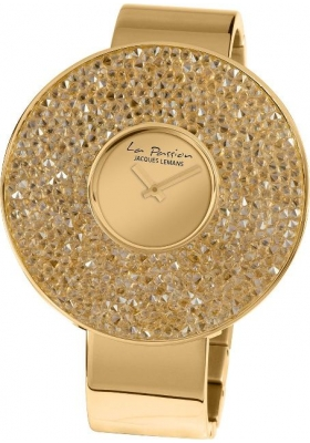 JACQUES LEMANS La Passion Crystals Three Hands Gold Stainless Steel Bracelet