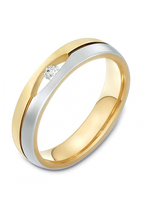 Wedding ring from 14K Gold and White Gold with Zircon