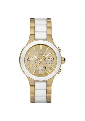 DKNY Chronograph White Ceramic and Gold Steel Bracelet